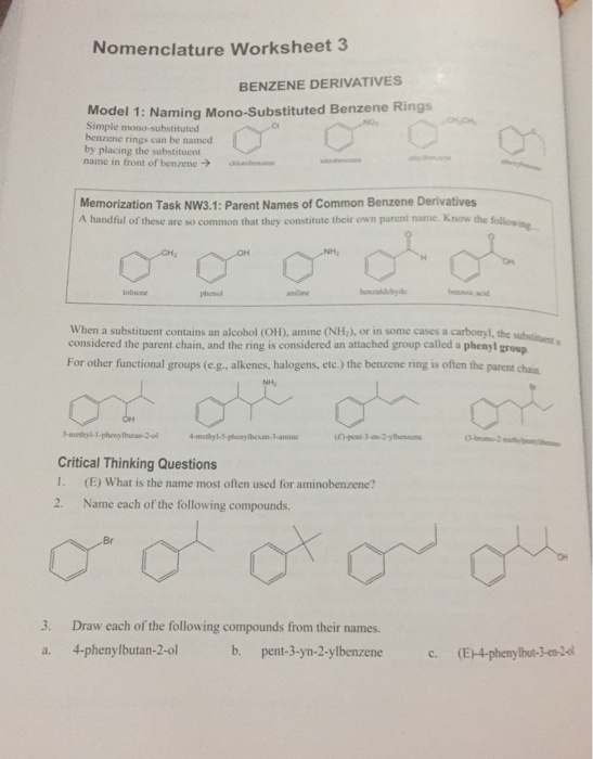 Solved: Nomenclature Worksheet 3 BENZENE DERIVATIVES Model ...