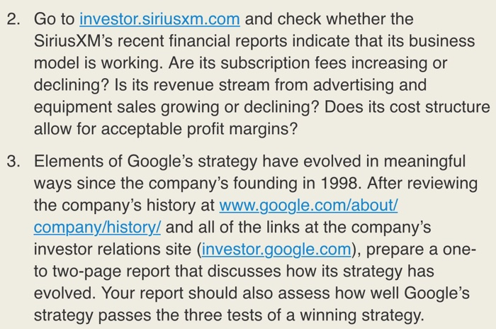 Solved Kindly Need Help In Essay Format In Answering The   Go To Investor Siriusxmcom And Check Whether The Siriusxms Recent  Financial Reports