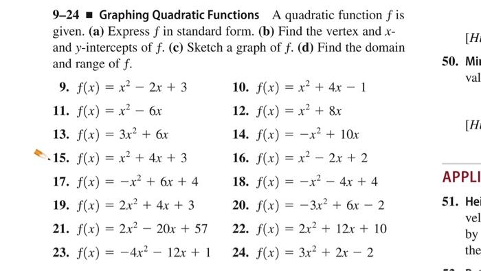 Solved 9 24 Graphing Quadratic Functions A Quadratic Func