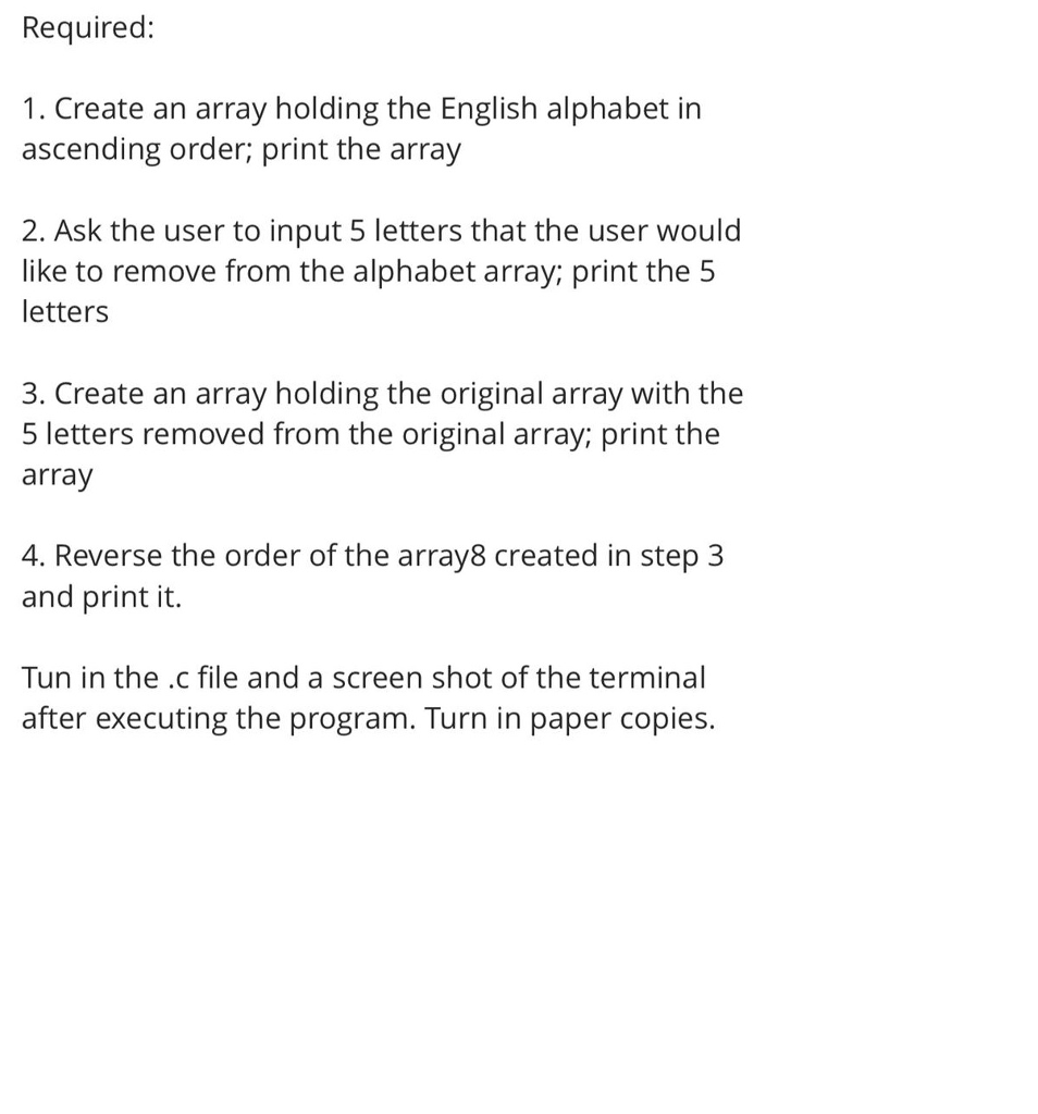 Solved: Required: 1  Create An Array Holding The English A