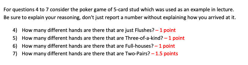 Solved For Questions 4 To 7 Consider The Poker Game Of 5