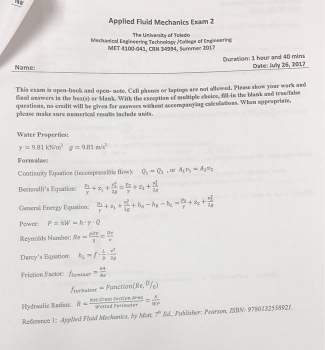 Solved: Na Applied Fluid Mechanics Exam 2 The University O