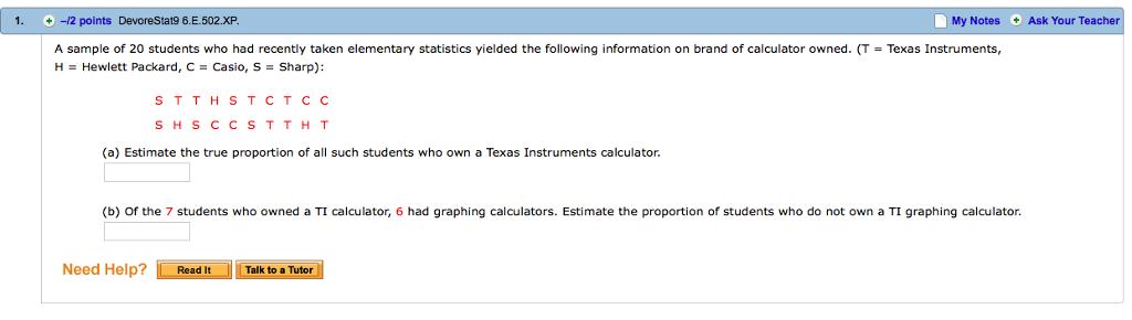 Solved: 1  ÷-12 Points DevoreStat96  E  502XP My Notes Ask