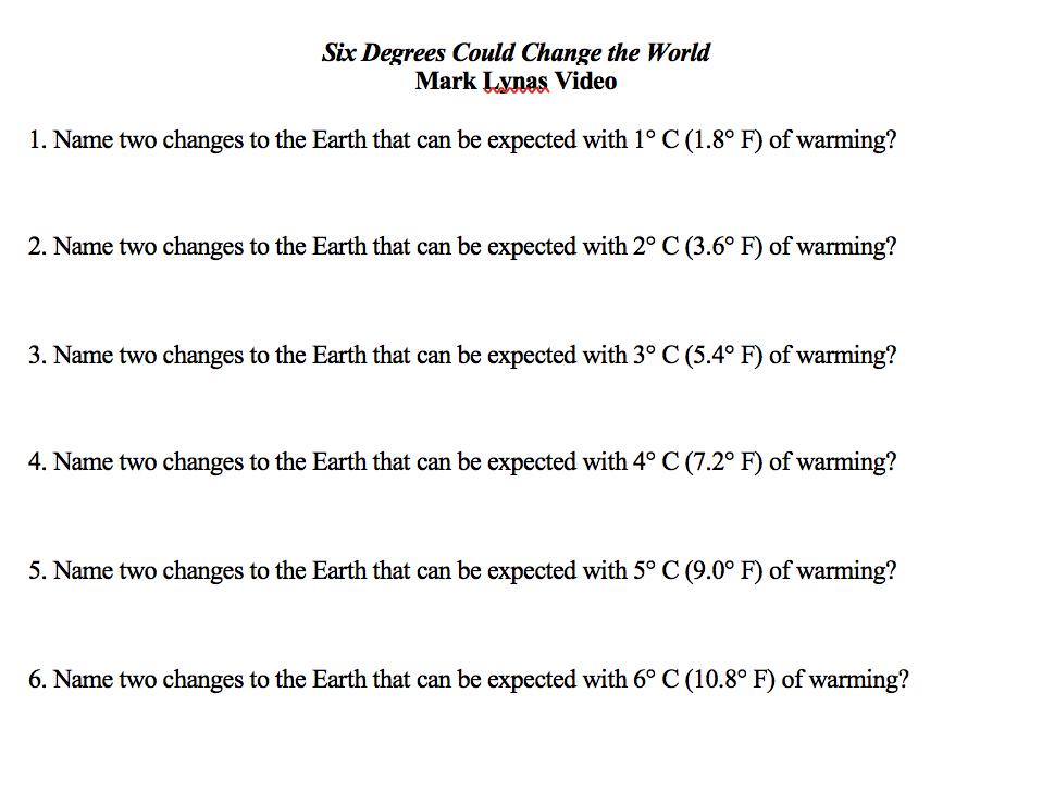 Solved Six Degrees Could Change The World Mark Lynas Vide Chegg Com