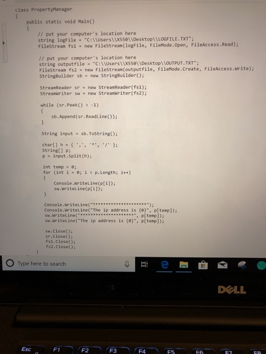 Solved: Assignment C # Code To Manipulate Input File To Be