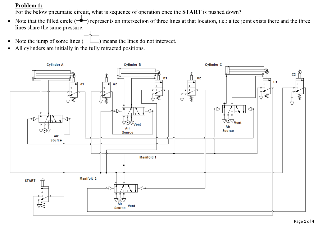 air cylinder schematic solved problem 1 for the below pneumatic circuit  what i  pneumatic circuit