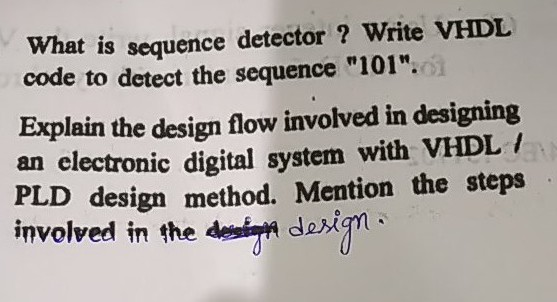 Solved What Is Code To Detect The Sequence 101 Explain Chegg Com