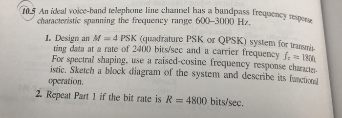 Solved: 10 5 An Ideal Voice-band Telephone Line Channel Ha