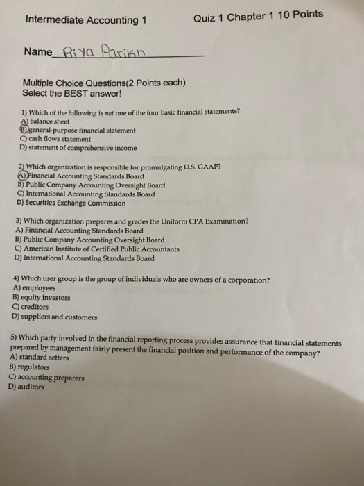 Solved: Intermediate Accounting 1 Quiz 1 Chapter 1 10 Poin
