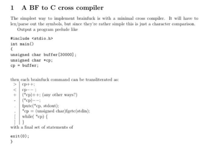 Solved: 1 A BF To C Cross Compiler The Simplest Way To Imp
