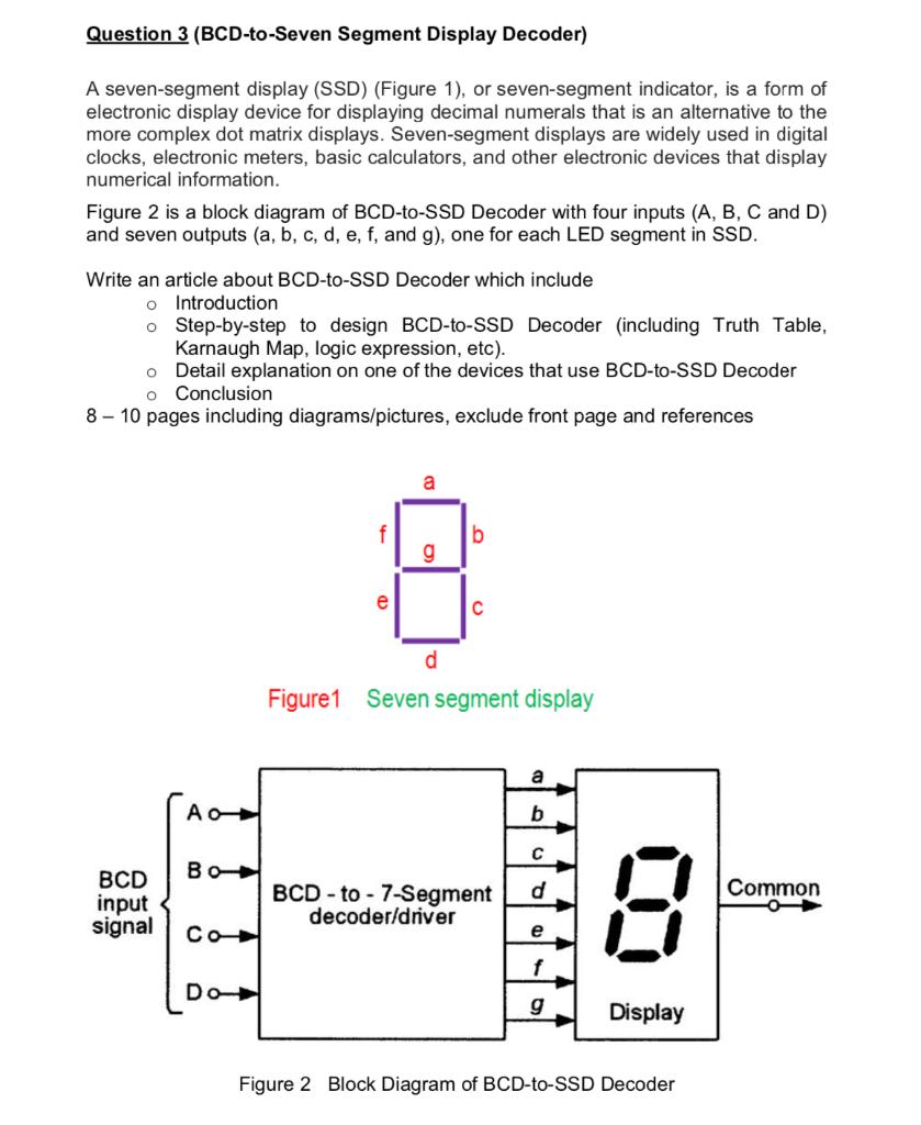 [DIAGRAM_38IS]  Question 3 (BCD-to-Seven Segment Display Decoder) ... | Chegg.com | 7 Segment Display Block Diagram |  | Chegg