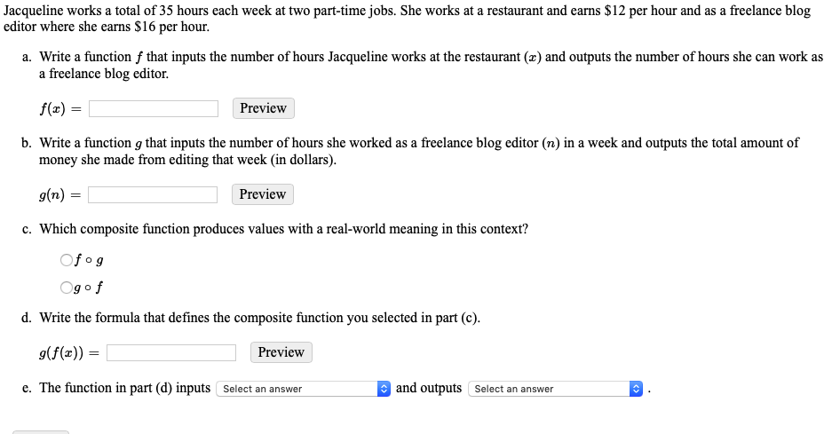 Solved: Jacqueline Works A Total Of 35 Hours Each Week At