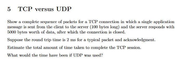 5 TCP Versus UDP Show A Complete Sequence Of Packe
