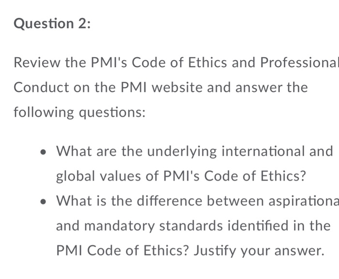 Solved: Question 2: Review The PMI's Code Of Ethics And Pr