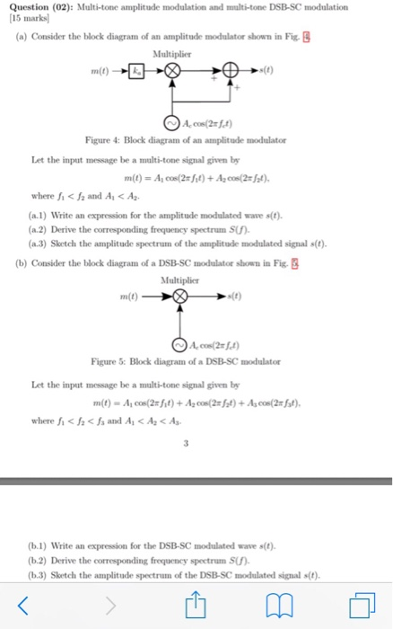 Solved: Multi-tone Amplitude Modulation And Multi-tone DSB