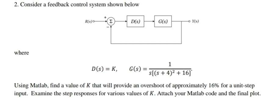 Solved: 2  Consider A Feedback Control System Shown Below