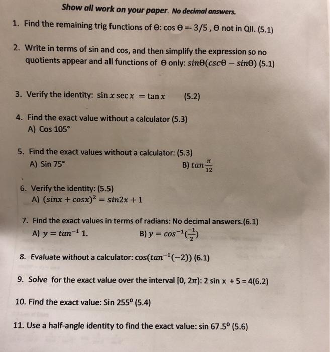 Paper No Decimal Answers