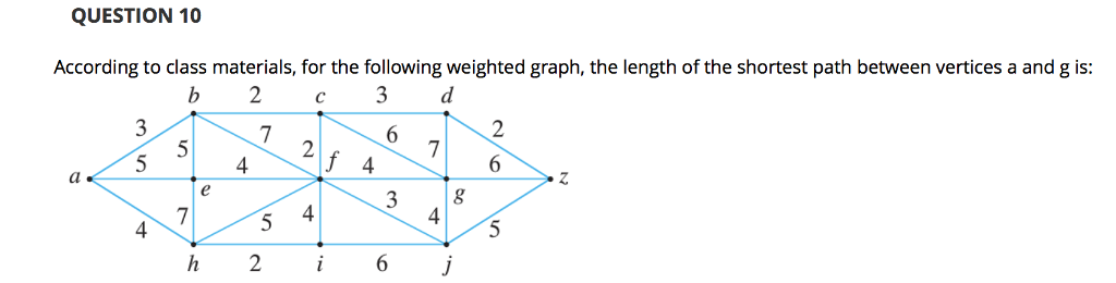 QUESTION 10 According to class materials, for the following weighted graph, the length of the shortest path between vertices a and g is: 4 4 4 4
