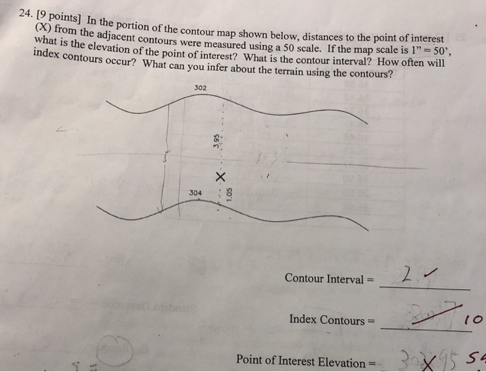 e portion of the contour map shown below, distances to the point of interest e adjacent contours were measured using a 50 scale. If the map scale is 1 50, of the point of interest? What is the contour interval? How often will 24. [9 points] In th (X) from the contour what is the elevation index contours occur? What can you infer about the terrain using the contours? 302 304 7 Contour Interval- Index Contours = Point of Interest Elevation 5