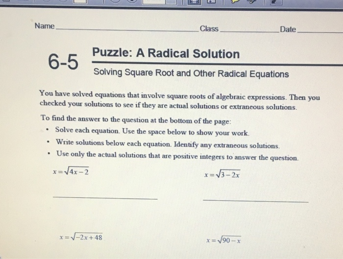 Solved You Have Solved Equations That Involve Squareroot