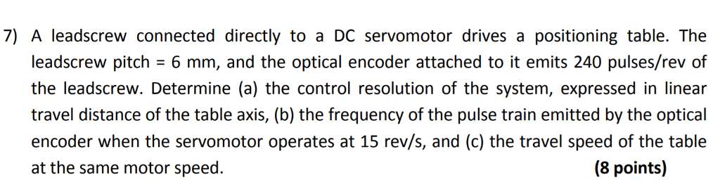 Solved: 7) A Leadscrew Connected Directly To A DC Servomot