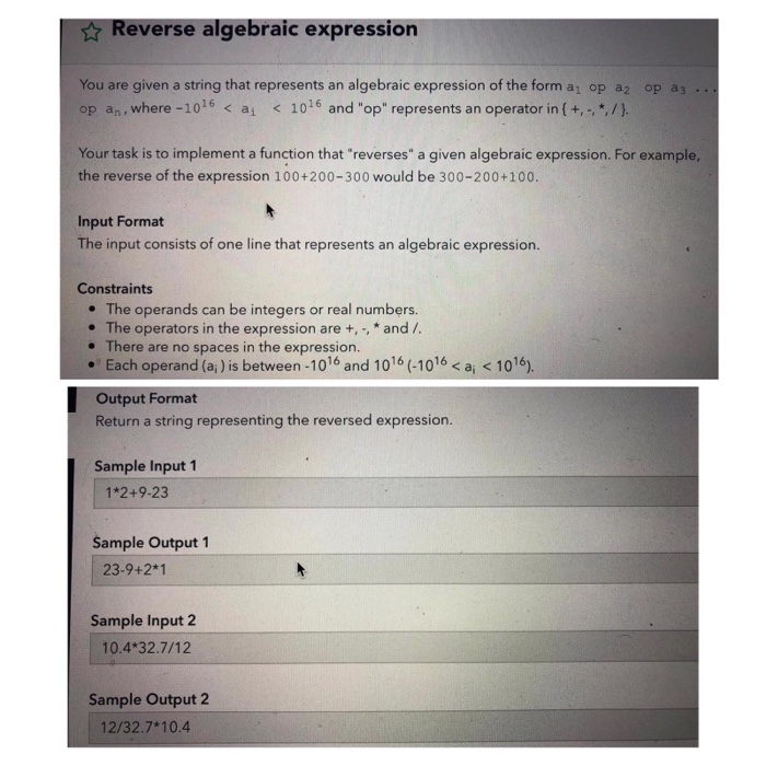 Solved: Reverse Algebraic Expression You Are Given A Strin