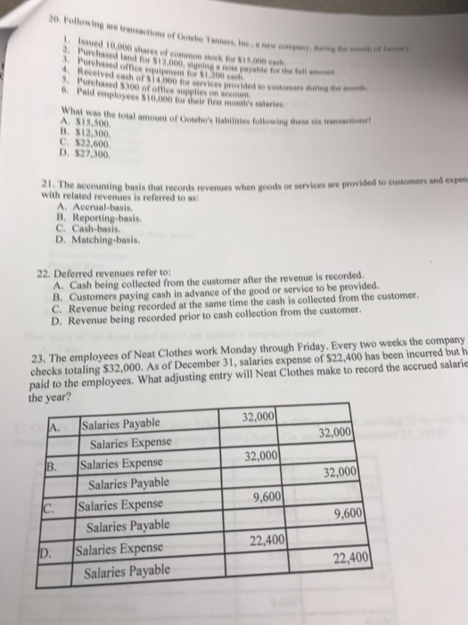 accounting 2301 exam answers