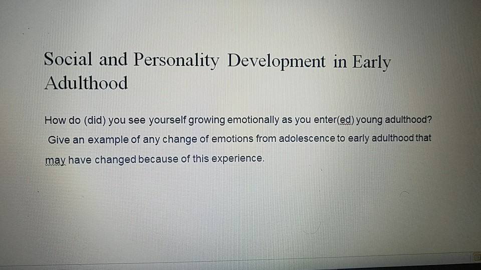 emotional development in early adulthood