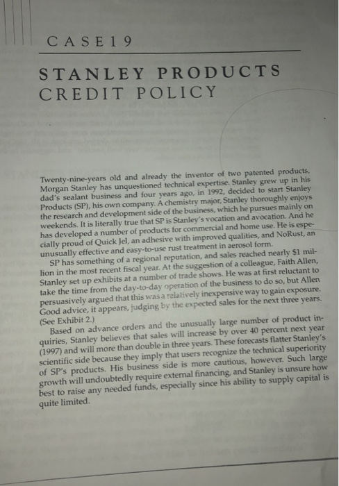 CASE19 STANLEY PRODUCTS CREDIT POLICY Twenty-nine