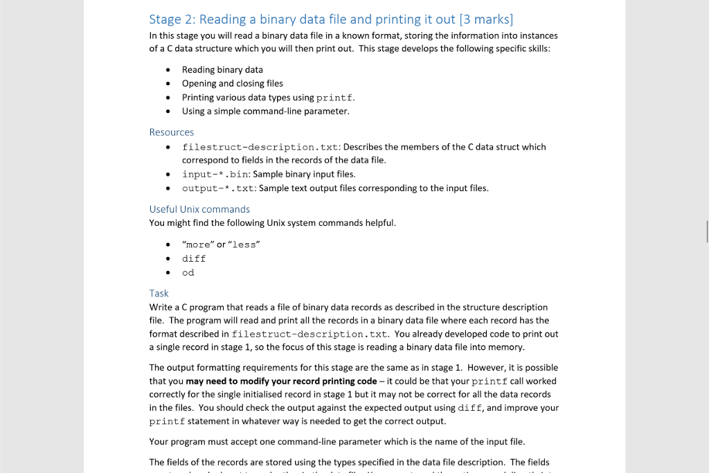 Solved Stage 2 Reading A Binary Data File And Printing I