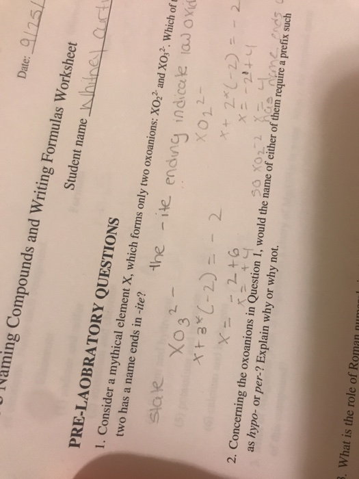 Solved: Date: | 25 Naming Compounds And Writing Formulas W ...