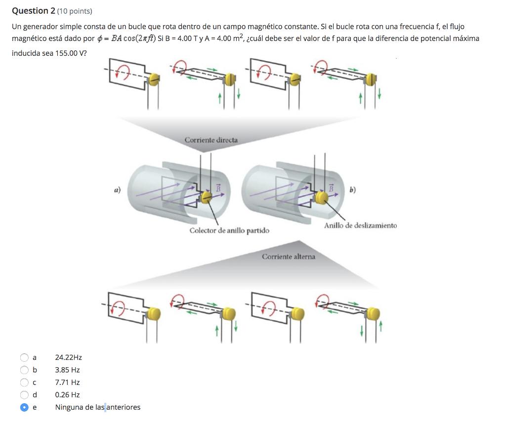 Solved A Simple Generator Consists Of Loop That Rotates Magnetic Diagram Question 2 10 Points Un Generador Consta De Bucle Que Rota Dentro