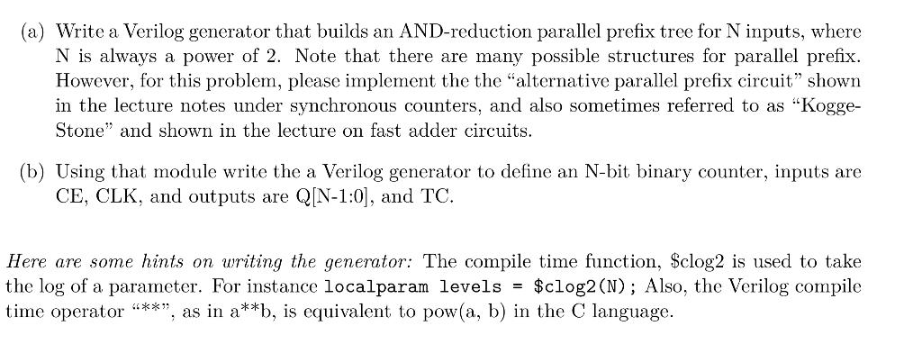a) Write A Verilog Generator That Builds An AND-r    | Chegg com