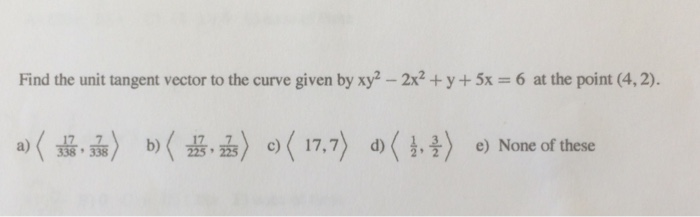 Solved: Find The Unit Tangent Vector To The Curve Given By