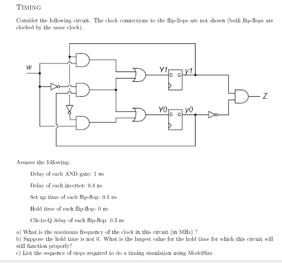 TIMING Consider The Following Circuit  The Clock C