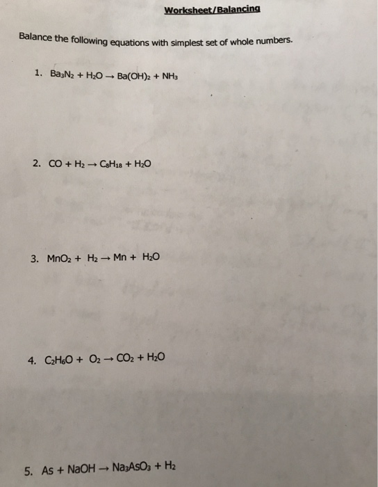 Solved: Worksheet/Balancing The Following Equations With S ...
