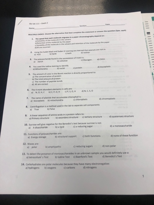 Solved: Bio Lab 111-Exam 2 Date MULTIPLE CHOICE, Choose Th