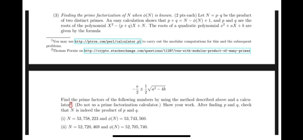 Solved: (3) Finding The Prime Factorization Of N Uhen O(N ...