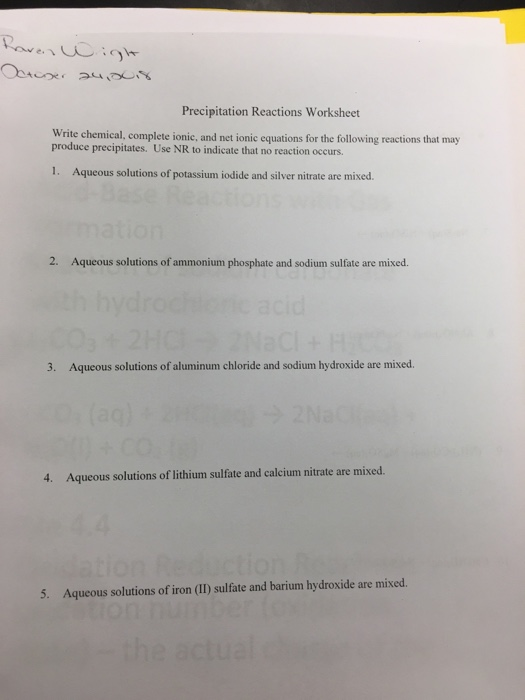 Solved: Precipitation Reactions Worksheet Write Chemical ...