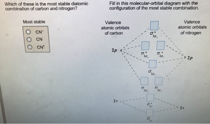 Solved Which Of These Is The Most Stable Diatomic Combina