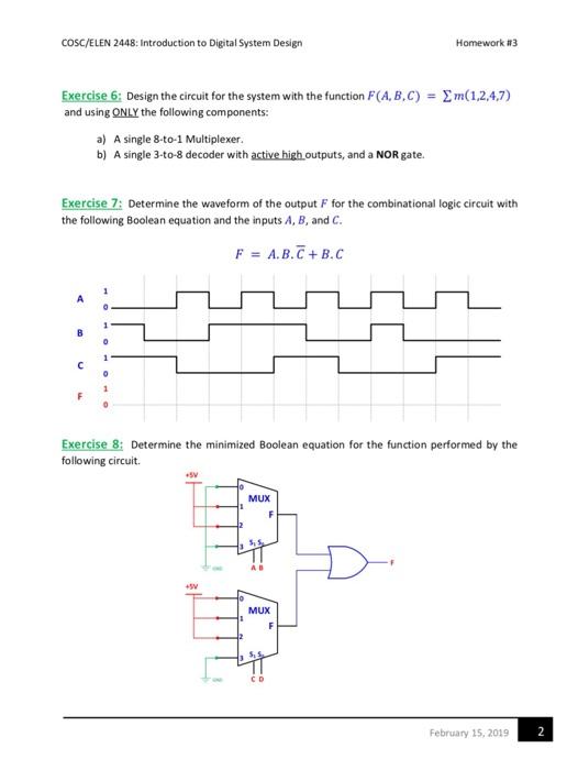 Solved Cosc Elen 2448 Introduction To Digital System Des Chegg Com