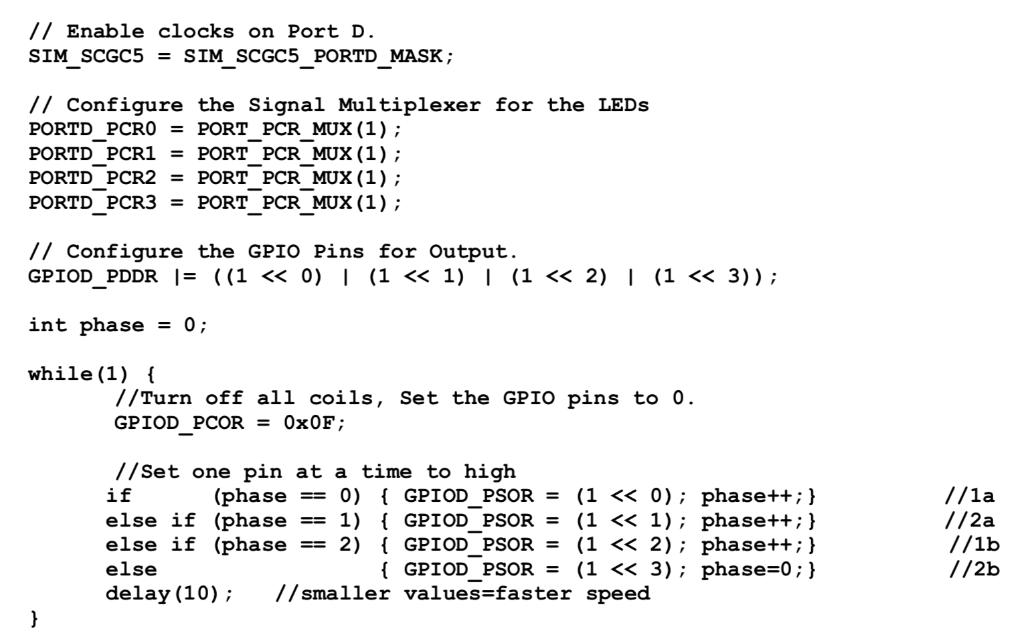 The Following K64 Code Controls A Unipolar Stepper