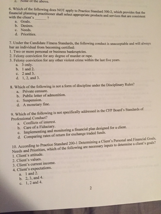 Solved E None Of The Above 6 Which Of The Following Do