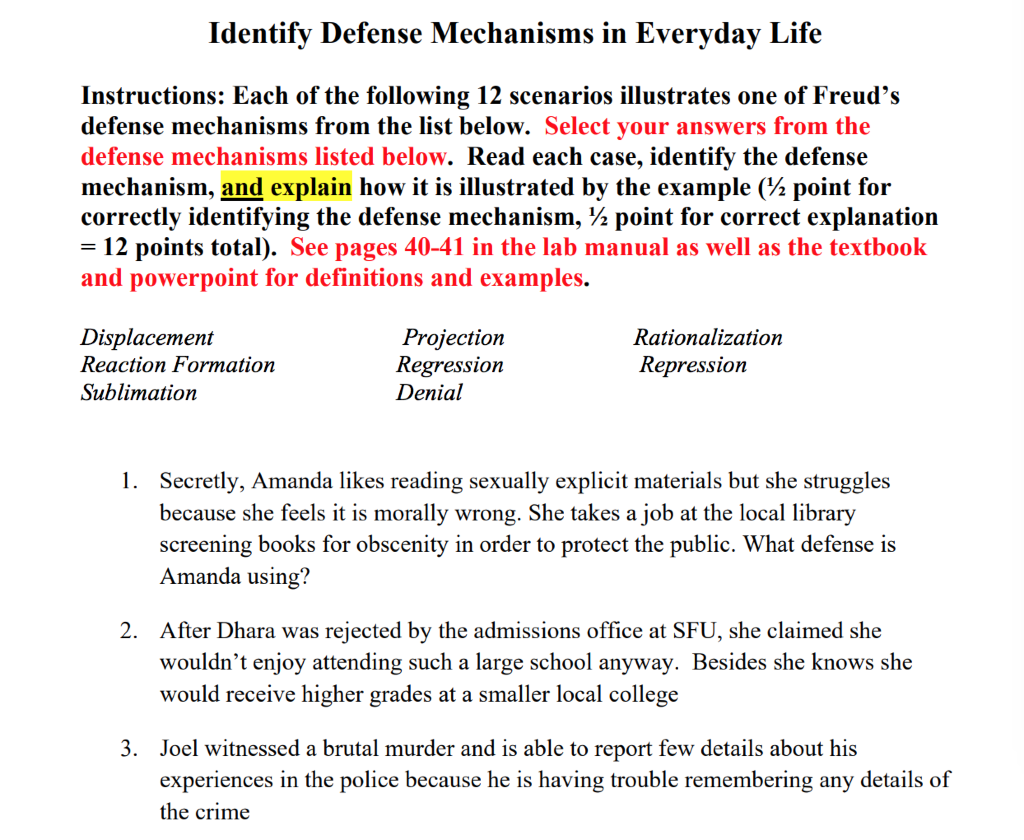 Solved Dentify Defense Mechanisms In Everyday Life Instru
