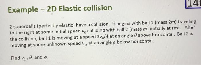 Solved Example 2d Elastic Collision し41 2 Superballs P Chegg Com