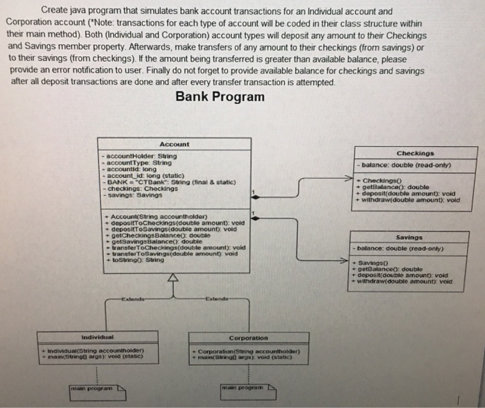 Solved: Create Java Program That Simulates Bank Account Tr