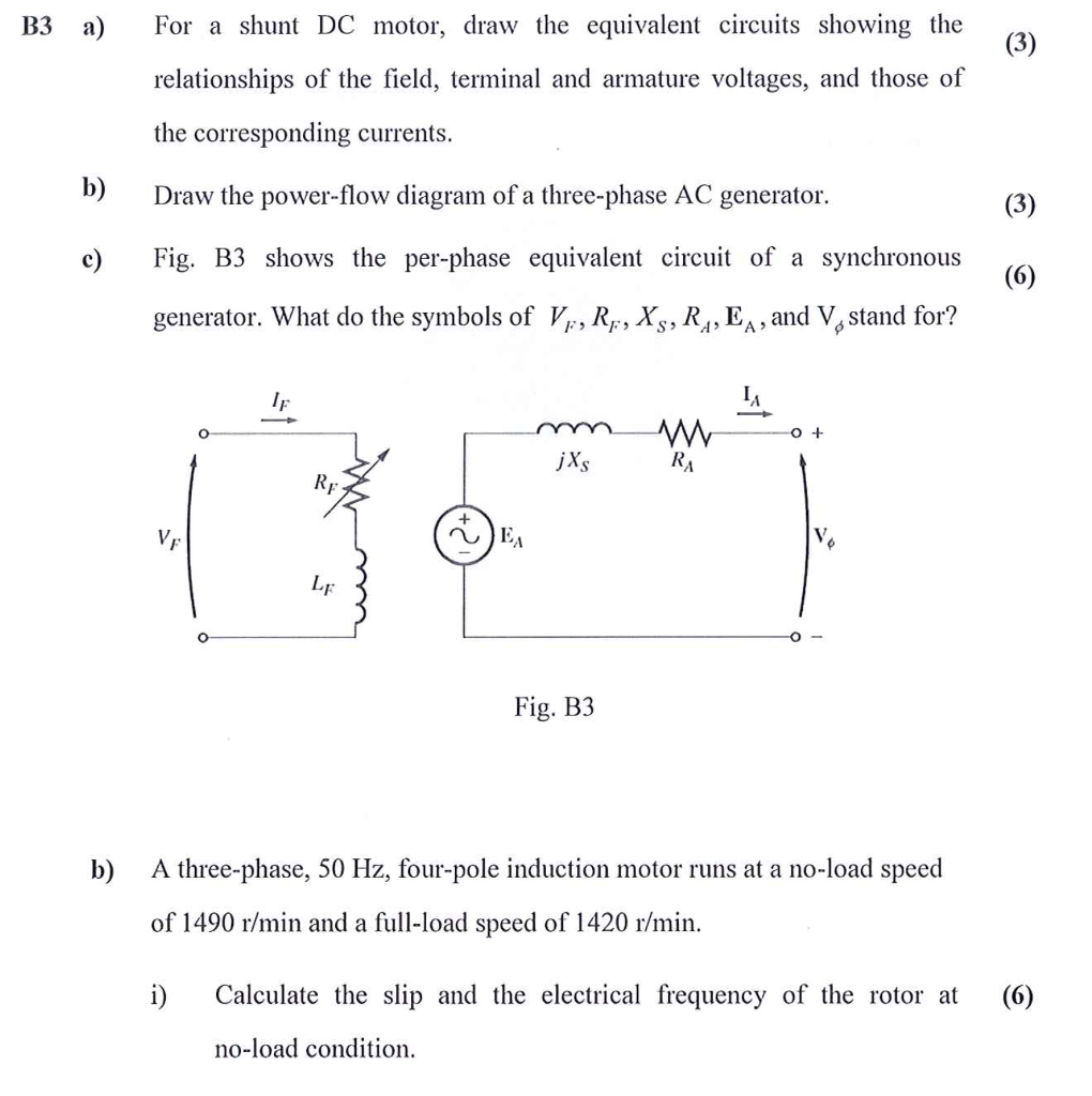 B3 For a shunt DC motor, draw the equivalent circuits showing the  relationships of the
