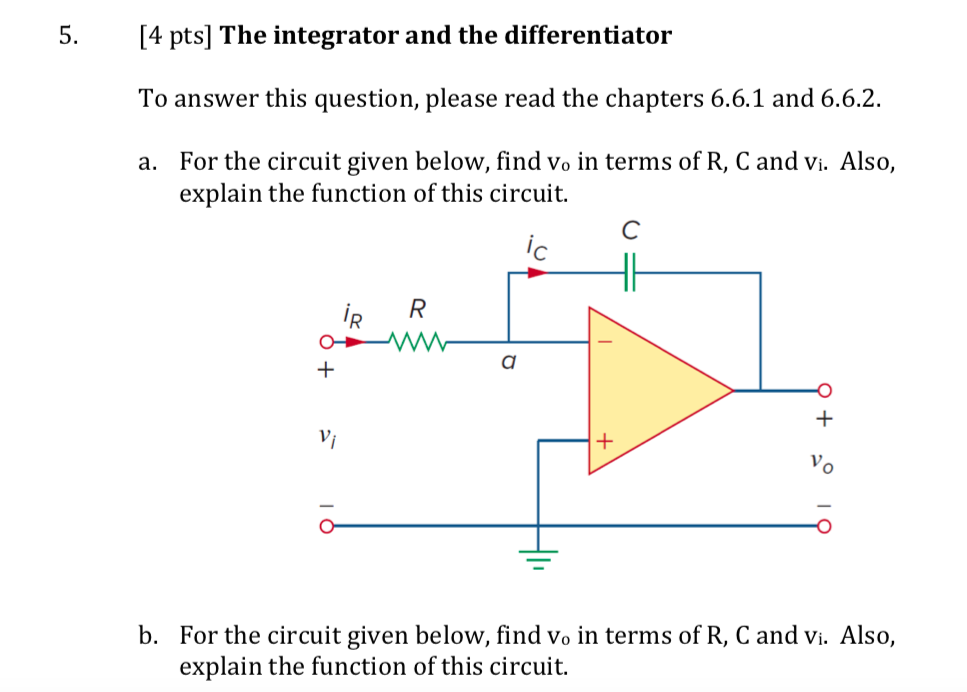 solved 5 [4 pts] the integrator and the differentiator r