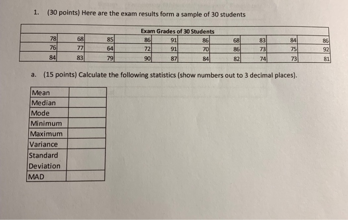 c20e85e5db Solved: 1. (30 Points) Here Are The Exam Results Form A Sa ...
