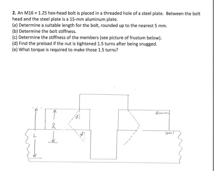 Solved 2 An M16 X 125 Hex Head Bolt Is Placed In A Thre